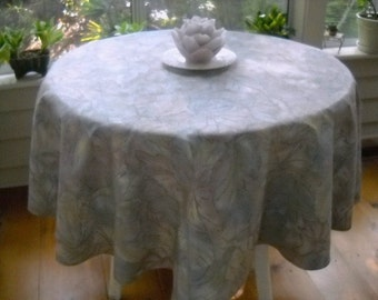 """Round party table cover  mauve and blue leaf pattern with silver highlights   67"""" diameter"""