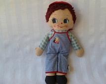 Adorable Vintage Knickerbocker Cloth Doll Boy Baseball Cap