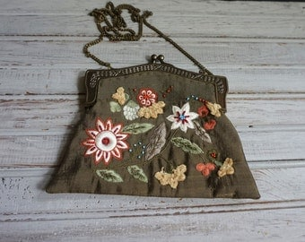 Vintage Purse with Appliques and Embroidery
