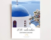 2016 Calendar - Santorini Greece Calendar - Desk Calendar - Travel Photography - Mediterranean - Christmas Gift - Stocking Stuffer - Sea