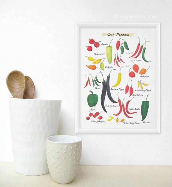 Chili Pepper Kitchen Curtains: Chili Pepper Kitchen Art 8x11 Watercolor Art Culinary