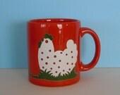 Very Nice Vintage Waechtersbach West Germany Red Mug with Chicken Motif