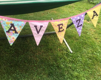 Custom Name Fabric Banner 5-7 letters - Perfect for birthday or everyday