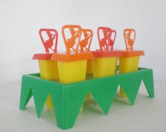 Vintage Donald Duck Popsicle Molds Set of Six Plastic Disney Red Orange Yellow Green Tray Mid Century GallivantsVintage
