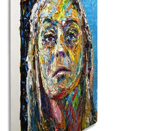 Oil Paint on Gallery Wrapped Stretched Canvas 34 by 24 by 2.5 in. / expressionism portrait original oil painting original art gallery NYC