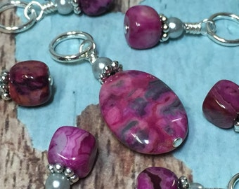 Pink Agate Stone Stitch Markers- SNAG FREE Beaded Knitting Markers- Knitting Gift- Tools-