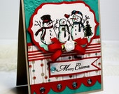 "Handmade Christmas Card - 3D Greeting Card - 4.25 x 5.5"" Merry Christmas - Snowman - PSX - Cute - Blank Card - Blue- OOAK"