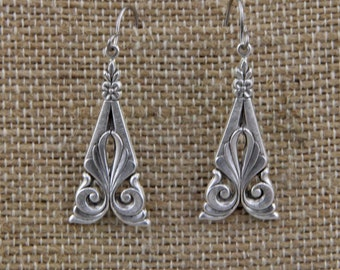 Handmade Silver Victorian Flourish Dangle Earrings On Steel Hooks