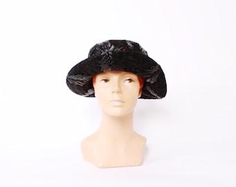 60s SCHIAPARELLI Black HAT / 1960s WOVEN Straw Designer 20s Style