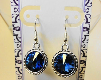 Sapphire Blue Crystal Rivoli Earrings