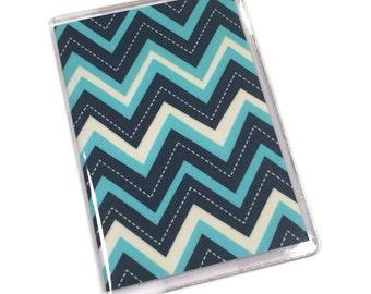 Passport Cover Stitch Chevron Blue