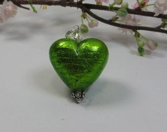 Large 30mm Venetian Murano Glass Heart Pendant, Erba Green Murano Heart w Silver Foil, 925 Sterling Silver & Swarovski Crystal