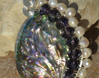 Wire Wrapped Abalone Shell with Crystals and Pearls........item no. 7409