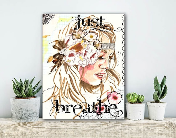 ON SALE 20% OFF Just Breathe - Stretched Canvas print, bohemian art, canvas art, typographic print, large wall art, boho chic decor, hippie