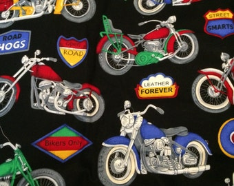 Fabric Motorcycle Leather Forever Hit the Road Hog Black 100% Cotton Destash Quilt Eustheelf By the 1/2 yard 126