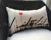 Oakland Shipping Cranes Rectangular Canvas Throw Pillow