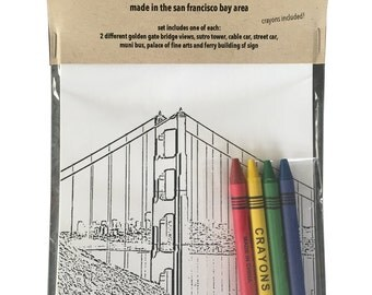 San Francisco Lover's Coloring Cards assorted set of 8