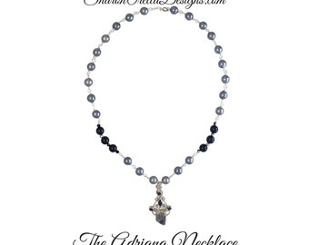 The Adriana Necklace - 10mm  black and platinum Crystal Glass Pearls with Onyx and Meteorite pendant in sterling silver