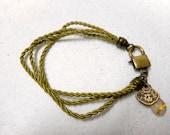 Vintage Longevity Bracelet, Long Life Jewelry, Rutilated Quartz Charm Bracelet