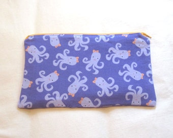 Octopus With a Bow Fabric Zipper Pouch / Pencil Case / Make Up Bag / Gadget Sack