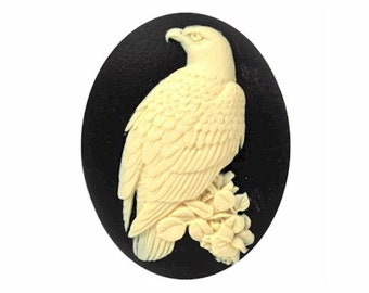 1pc 40x30mm Bald Eagle Cameo Black and Ivory Resin Bird Cameo Jewelry Supply patriotic craft supply 844x