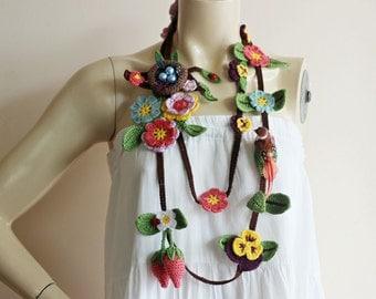 Tree Bird Nest Scarf-Crochet Scarf-Strawberry Scarf -Pansy Scarf-Ladybug Scarf