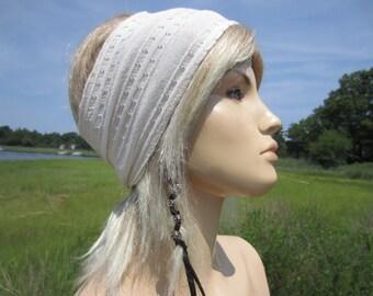 WIDE Hair Band Knit Headband Yoga Turban Hair Wrap Ivory Cream Stretch Ribbon HairBand A1108