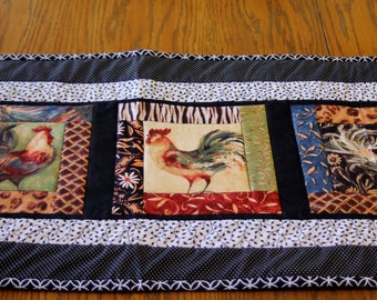 Quilted Rooster Table Runner - Material by Susan Winget - Kitchen Decor, Table Decoration, Chicken Table Runner