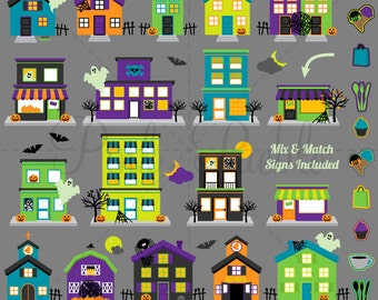 Halloween Clipart, Halloween Clip Art, Halloween Town or Haunted House Clip Art Clipart - Commercial Use and Personal Use