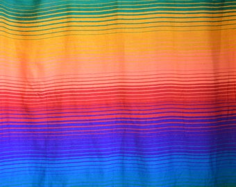 Vintage Mexican Saltillo Blanket 1970s Rainbow Throw with Fringe Burning Man Pride Rainbow Handwoven Wool Blanket 57 X 86 Large