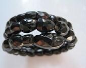 Black Jet Bracelet, French Jet Snake, Victorian Bracelet, Triple Coil Snake Bracelet, Jet Glass, European Jewelry, Beaded Bracelet