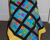 SALE, Sea Life Tummy Time Quilt, Baby Quilt, Hand Quilted