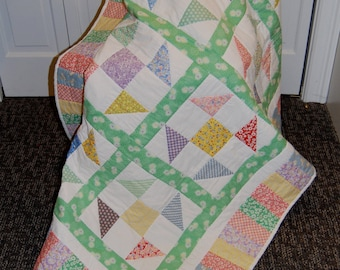 SALE, 30's Playtime Patchwork Quilt, Hand Quilted, Throw Size