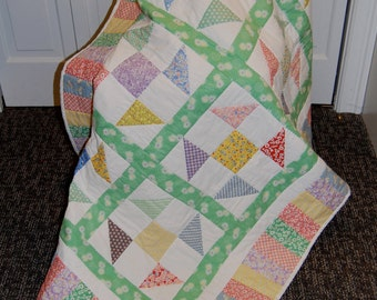 30's Playtime Patchwork Quilt, Hand Quilted, Throw Size