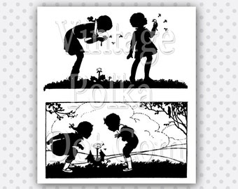 Clip Art Vintage Silhouette Dandelion Children Wind Playing with Dandelions Collage Clipart Printable Digital Instant Download