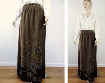 Vintage Skirt by Vera Maxwell at Harzfeild's Free Shipping Designer Cotton Velvet Original