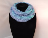 Varigated Green,Blue  & Purple Infinity Scarf, Hand Knit, Blue, Green, Aqua,Circle Scarf, Loop Scarf, Young Girls, Purple