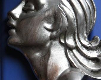 FRENCH Art DEco ' Wella Head' in Silver Tone...c 1920