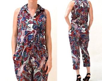 Vintage Diane Von Furstenberg Jumpsuit Size Large// 80s Vintage Tropical Print Jumpsuit Pantsuit Size Large