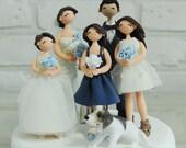 Wedding couple with their children family custom wedding cake topper
