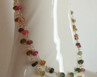 Watermelon Tourmaline Gemstone Natural Handmade Necklace Wire Wrapped  with 14k Gold  Fill Extra Long