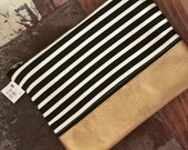 Black and Cream Striped Gold Pouch