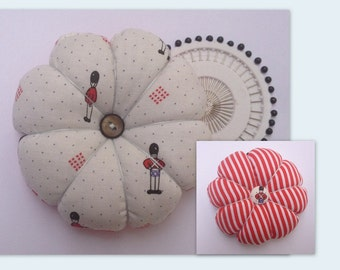 SOLDIER Vintage Laura Ashley Fabric Tomato Pincushion & Pins Sewing Gift