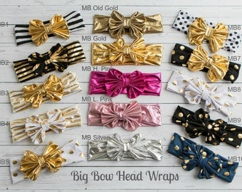 Baby Headbands, Girls Head wraps, Metallic Messy Bow Baby Head wraps, Jersey Knit Headwraps, Big Bow Baby Headbands,Gold Knott Headband,