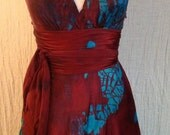 Reserved for Shanda Dark fall red with the blue flash custom sized for Shanda  halter wedding dress with train