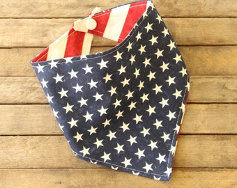 Baby Bibdana Baby Bib Drooling Bib Rockabilly American Flag Blue with Stars Reversible Over Red and Creme Stripes