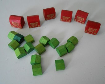 wood Monopoly game pieces houses and Grand Hotels