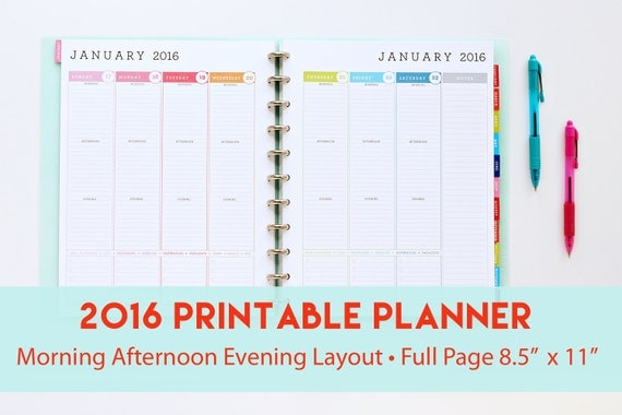 2016 Printable Planner with Morning Afternoon Evening Layout | Weekly ...