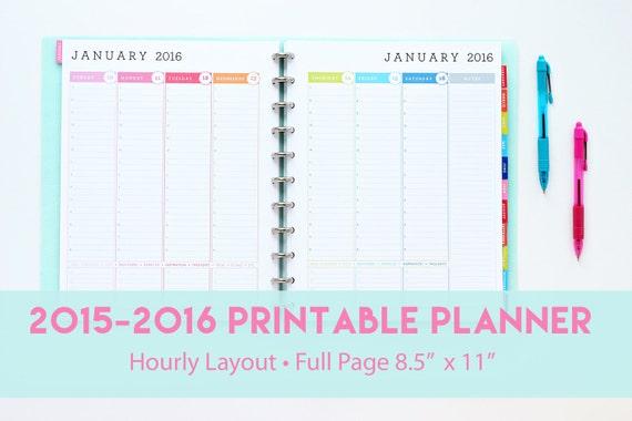 2015-2016 Hourly Planner Printable   Weekly Agenda   Hourly Planner ...
