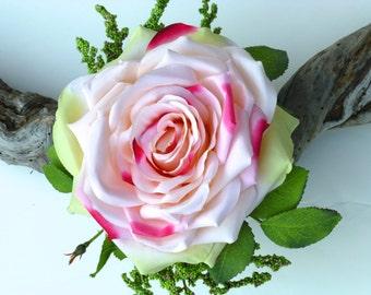 Wedding Corsage - ROSE GARDEN, Silk flower, Silk rose wristlet corsage, Wedding flowers, Destination weddings, Wedding accessories, Corsage.